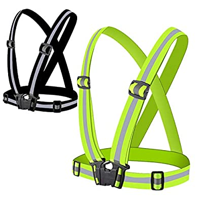WHALE LEAPING 2 Pcs Reflective Vest,Running Safety Gear,Class 3 Tracer 360 High Visibility Adjustable Waist Safety Vest for Night Running,Motorcycle, Walking,Cycling,Safety Vest,Work Vest