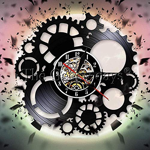 ZZLLL Steampunk Disco de Vinilo Reloj de Pared Victoriano Industrial Steampunk Engranaje Reloj de Pared Engranaje y decoración de Engranajes Reloj de Pared Ciclo Ventilador Regalo