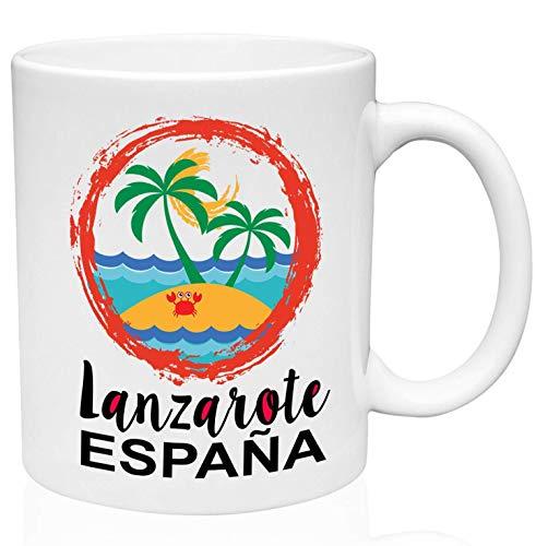Mug Lanzarote Islas Canarias Taza De Porcelana 330Ml Cerámica Blanca Duradera Novedad Oficina Única Unisex Personalizada Hogar Taza De Cerámica Taza De Café Para Té De Cacao Té