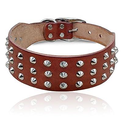 "PET ARTIST Genuine Leather Studded Rivet Dog Collar- Heavy Duty Pet Collars(Brown,17-21.5"")"
