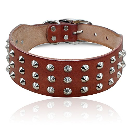 PET ARTIST Genuine Leather Studded Rivet Dog Collar- Heavy Duty Pet Collars(Brown,17-21.5')