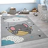 Alfombra Pelo Corto Habitación Infantil, Nube, Elefante, Diseño Infantil, Gris, tamaño:133x190 cm