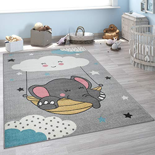 """Paco Home Kid's Rug for Children's Bedroom, Cloud, Elephant, Animal Motive in Grey, Size:3'11"""" x 5'3"""""""