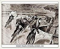 ポスター アーティスト不明 Women Track Cyclists 1898 額装品 ウッドベーシックフレーム(ホワイト)