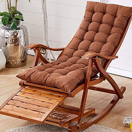Sillón Sillón al aire libre plegable Silla mecedora de bambú Sillón de jardín Silla relajante con reposapiés extensible Masaje de pies Relajante Silla de siesta con almohadas Mueble ( Color : Brown )