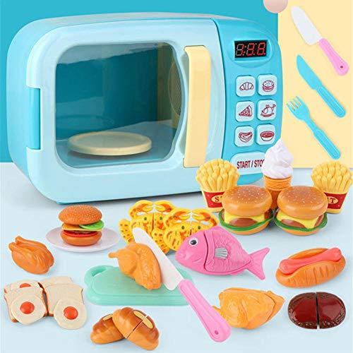 pegtopone Mikrowelle Geschirr Spielzeug Für Kinder Mit Künstlichen Lebensmitteln, Spielzeug Ideal Für Kleinkinder, Jungen, Mädchen Und 2 3 4 5 6 Jahre, Für Kindergeburtstagsgeschenk, Pink/Blau