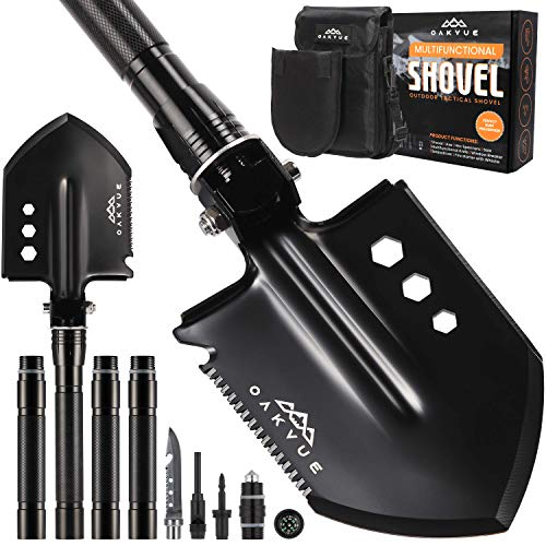 OAKVUE Survival Shovel Multitool with Tactical Shovel Carry Pouch, Camping Shovel - 180 Degree Folding Shovel High...
