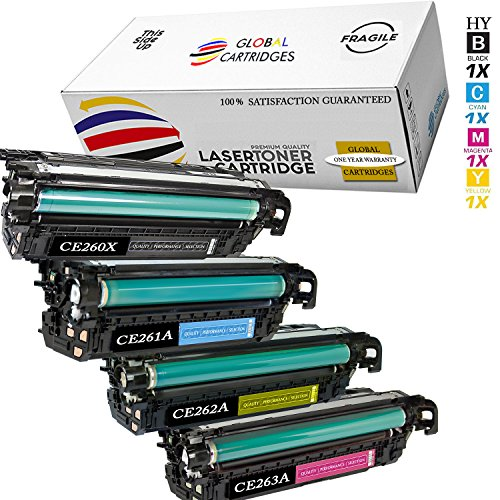 Global Cartridges Premium Quality Remanufactured Replacement Toner Cartridge Set for HP 647A/649X CE260X,CE261A,CE262A,CE263A for HP Color Laserjet CP4525DN, CP4525XH