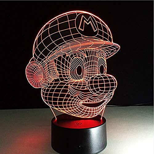 Super Mario Cartoon LamparaLed3D nachtlampje acryl 3D licht Touch Luminous USB eettafel sfeerlicht baby nachtlampje