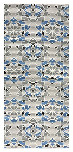 All Design Mats Cushioned Non-Slip/Rubber Medallion Damask Design Blue - Grey - Black Color Aqua Runner/Doormat, Easy Cut to fit in Your Hallway, Bathroom, or Kitchen with Scissors AQ4000-03-2X6