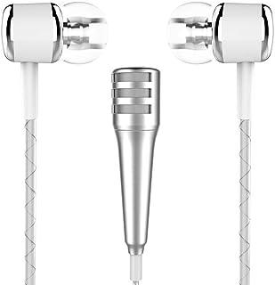 Hemobllo Diseño de Moda Mini micrófono con Cable de Bolsillo para la grabación de Amantes de la música KTV Party Home con Auriculares para Android Uso de la Tableta del Ordenador portátil iOS (Plata)
