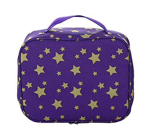 Waterproof Case Portable Maquillage Sac cosmétique Sac de toilette Violet #01
