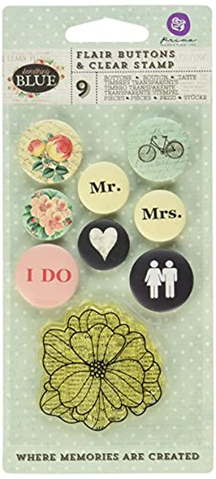 Prima Marketing Something Blue Flair Buttons with 2 by 2-Inch Clear Stamp, 0.75 to 1-Inch