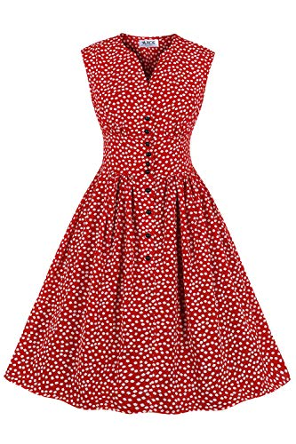 AXOE Femme Robe Pin up Rockabilly Année 50 sans Manches Taille Haute