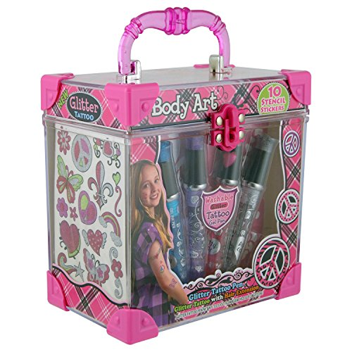 GLoss - Coffret de Maquillage pour petite fille - Spécial Tatouages incluant 1 extension pour cheveux - Collection Body art