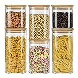 ComSaf 650ml/1100ml/1500ml Vorratsgläser mit Deckel 6er Set, Grosse Glasbehälter Vorratdosen Vorratsglas zur Aufbewahrung von Küchenzutaten, Luftdi