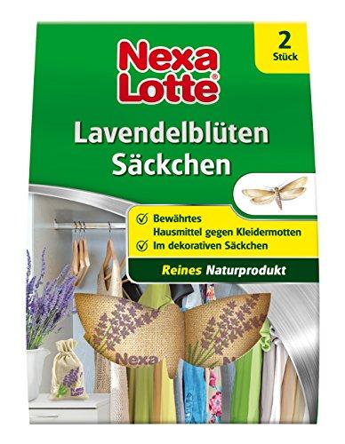 Nexa Lotte Lavendelblüten - Säckchen, Naturprodukt ohne Zusatzstoffe, gefüllt in dekorative Naturfasersäckchen zum Schutz vor Motten in Kleiserschränken, Schubladen und Truhen, 2 Säckchen