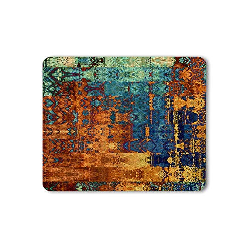 Moslion Blue and Golden Color Mouse Pad Decorative Art Old Rough Grunge Abstract Gaming Mouse Mat Non-Slip Rubber Base Thick Mousepad for Laptop Computer PC 9.5x7.9 Inch