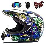 Motorradhelm/Integrierter hochklappbarer Motocross-Helm/Crash-Helm mit Blendschutz für zwei...