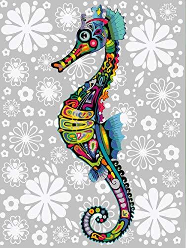 FGHJSF Pintar por Numeros Hipocampo Lienzo Pintura al óleo para Adultos y Niños DIY Pintura al Óleo por Números Decoración del Hogar - 40 x 50 cm (Sin Marco)