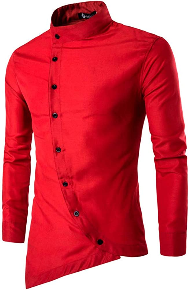 Mens Hipster Casual Slim Fit Irregular Long Sleeve Button Down Dress Shirts Muscle Blouse Pullover Jumper Sweatshirts