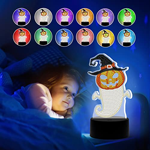 Pumpkin Head Night Light for Kids, 5D Diamond Painting Night-Light, 7-Color Changing Night Lights for Bedroom, Living Room and Office, USB Rechargeable & Battery Powered