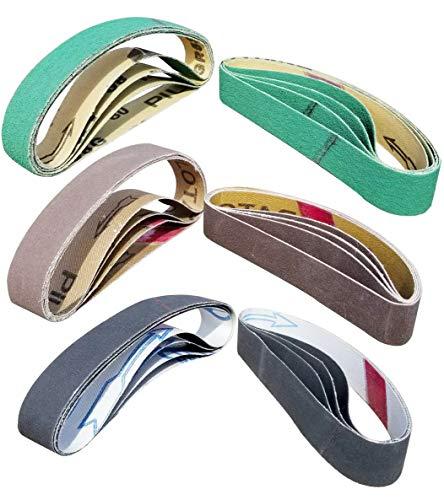 "24 Pcs Knife Sharpener Sanding Belts, 3/4"" x 12"" Replacement Belt Kit for the Ken Onion Edition Work Sharp Knife & Tool Sharpener - 4 belts each of 80/120/240/400/1000/1200 Grits"