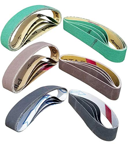 "24 Pcs Knife Sharpener Sanding Belts, 3/4"" x 12"" Replacement Belt Kit for the Ken Onion Edition Work Sharp Knife & Tool Sharpener - 4 belts each of 80/120/240/400/1000/1200 Grits"