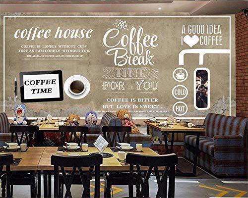 Papel Pintado Personalizado Mural Fotográfico 3D Pared De Ladrillo Europea Y Americana Pintado A Mano Café Postre Tienda Fondo Cartel De Pared-200Cmx140Cm(78.7X55.1Inch)