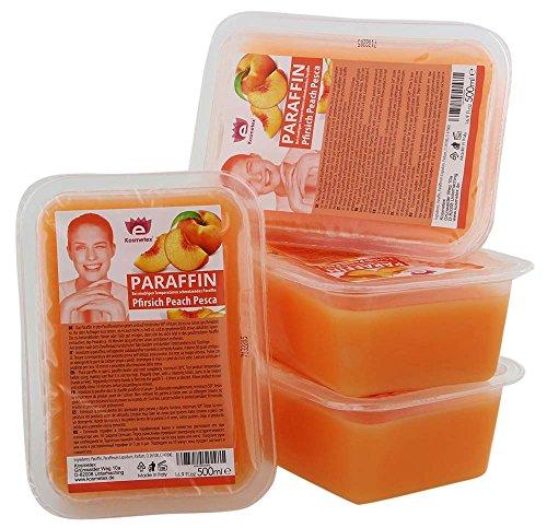 Kosmetex Paraffinbad, Paraffin-wachs mit niedrigeren Schmelzpunkt, Pfirsich Duft, 4x 500ml Pfirsich