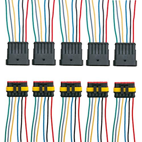 ZoneLiStore 6 Pin Way Waterproof Electrical Wire Connector Plug Automotive Wire Connectors Plug with Wire AWG Marine Pack of 5