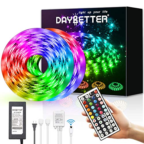 Daybetter Led Strip Lights 32.8ft Waterproof Flexible Tape Lights Color Changing 5050 RGB 300 LEDs Light Strips Kit with 44 Keys Ir Remote Controller and 12v Power Supply