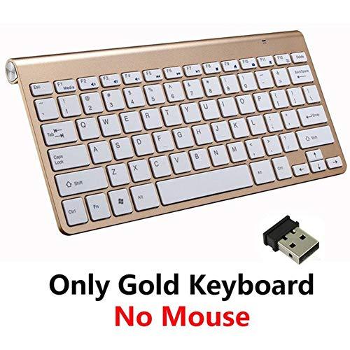 DJG Tastiera da Gioco, Tastiera Wireless Bluetooth 2.4G per Notebook Laptop Mac Desktop PC TV Forniture per Ufficio,d'oro