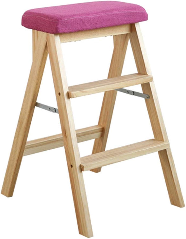 Folding Ladder Stool,Kitchen Folding Stool Solid Wood Creative Ladder Stool Simple Modern Foot Step High Stool Chair Home Board Stool(Sitting high 63cm)