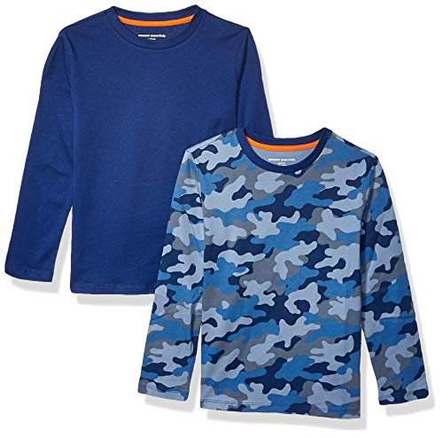 Amazon Essentials Boys' 2-Pack Long-Sleeve Tees fashion-t-shirts, Blue Camo/Navy, 4T