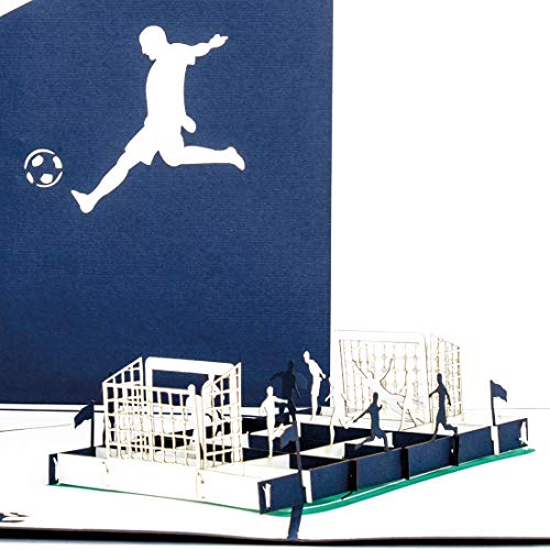 """Pop Up Karte\""""Fußballfan\"""" Blau & Weiß - 3D Fußball Geburtstagskarte & Einladungskarte zum Geburtstag für Fans von Schalke, Hamburg, Berlin u.v.m."""