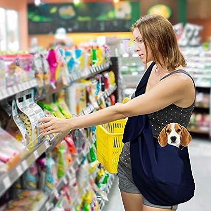 Nasjac Small Dog Puppy Sling Carrier, Hands Free Cat Sling Carry Dog Papoose Carrier Tote Bag with Pocket Safety Belt Adjustable Padded Shoulder Puppy Bag Sling for Daily Walking 3
