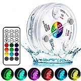 LOFTEK Poolbeleuchtung Unterwasser Led Licht Wasserdichte Multifarbige RGB Beleuchtung mit RF Fernbedienung 13 LED Lampe für Teich Schwimmbad Garten Vase Party Fest Dekoration