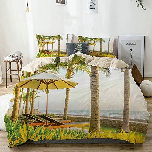 Juego de funda nórdica beige, sombrilla de palmeras y sillas alrededor de la piscina en el hotel Resort, juego de cama decorativo de 3 piezas con 2 fundas de almohada de fácil cuidado, antialérgico, s