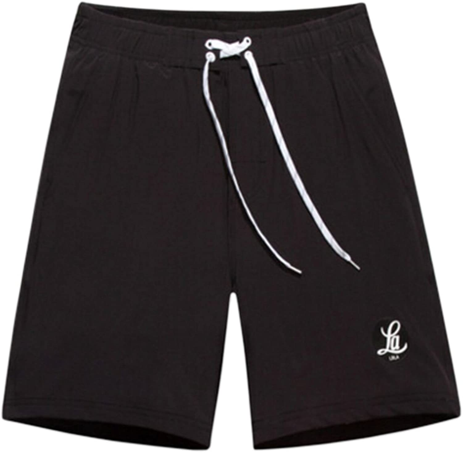 Men's Casual Shorts Beach Shorts QuickDry Sport Shorts Swim Trunk Black