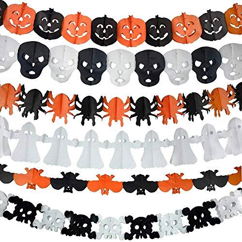 6 guirnaldas decorativas de papel Halloween, diseño de calabaza, fantasma, araña y cráneo