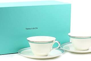 ティファニー TIFFANY&Co カップ ペアカップ プラチナ ブルー バンド カップアンドソーサー
