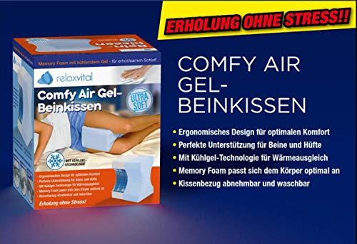 Relax Vital Comfy Air Gel-Beinkissen - egonomisches Design - Kühlgel-Technologie - Memory Foam - Kissenbezug waschbar - 24,5X 20x 15 cm