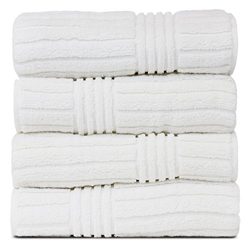 BC BARE COTTON Luxury Hotel & Spa 100% Natural Turkish Cotton Ribbed Channel Pattern Bath Towel (Set of 4), White