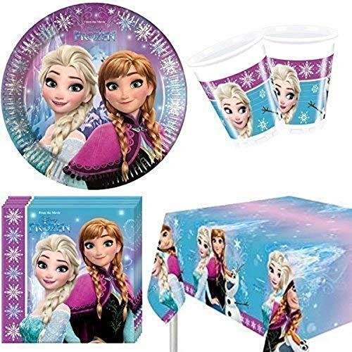 Lote de Cubiertos Infantiles 'Frozen Northen ' (8 Vasos, 8 Platos, 20 Servilletas ,1 Mantel y 1 Piñata) .Vajillas y Complementos. Juguetes para Fiestas de Cumpleaños, Bodas, Bautizos y Comuniones.