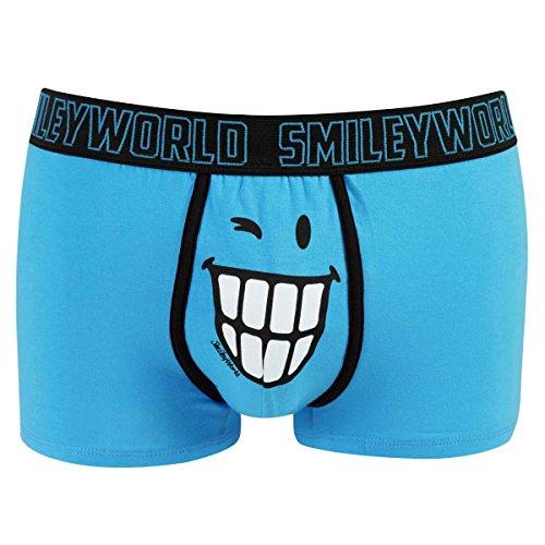 Smiley World Blue Friend lustige Boxershort Unterhose Pant Underwear Geschenk für Herren, Jungen, lustig witzig frech blau Smiley 95% Baumwolle (S)