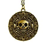 (Bronze) - Pirates of the Caribbean Aztec Coin Medallion Skull Charm Necklace