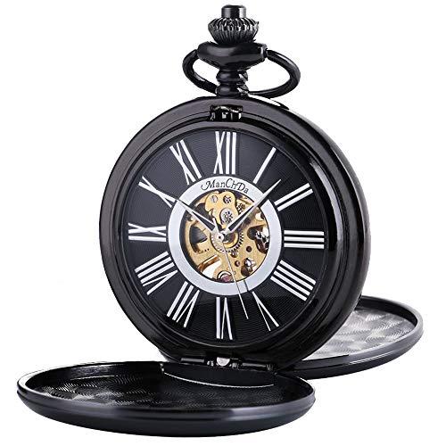 ManChda 機械式,手巻きメンズ 懐中時計 アンティーク レトロ 紳士 女性 (シルバー)