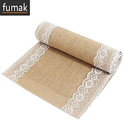 Cypre-10 Yards Natural Hessian Burlap with Lace Ribbon 2 Inch Wide White