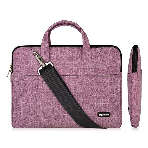Qishare 11.6-12 Inch Laptop Bag Multi-functional Polyester Fabric Laptop Case,Adjustable shoulder strap&Suppressible Handle,Portable Sleeve Briefcase (11.6-12'', Purple Lines)